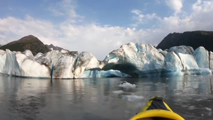 Kayakers flee huge waves after glacier collapses in Alaska