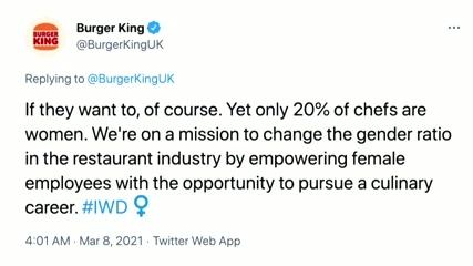 Burger King roasted for Women's Day tweet