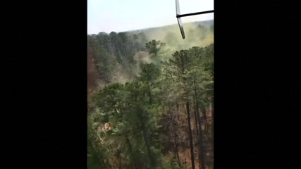 Helicopter stirs huge pollen clouds during flight in US state of Georgia