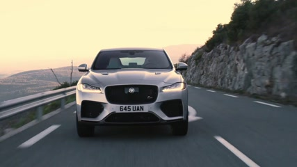 The Jaguar F-PACE SVR 550PS AWD Indus Silver Driving in Southern France